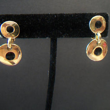 Double Disc Clip On Earrings Black Enamel Gold Tone Round Circles Costume Jewelry Fashion Accessories For Her