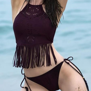 CUTE TASSEL HOLES WINE RED TWO PIECE BIKINI BATH SUIT