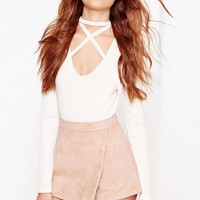 Missguided - Nude Bonded Faux Suede Skort