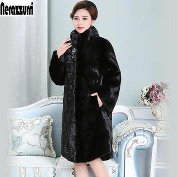 Nerazzurri Real Mink Fur Coat China Black Plus Size 5xl 6xl 7xl Full Sleeve Thick Warm Natural Female Genuine Mink Coats Women
