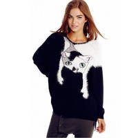 Cat Print Knitted Sweater