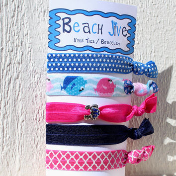 Elastic Hair Ties, Pink Blue FOE Assorted Pony Tail Holder with Crab Charm Teen Girl Gift Beach Theme Blowfish Summer Hair Accessory