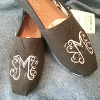 Women's monogrammed TOMS by ThePaintedChild on Etsy