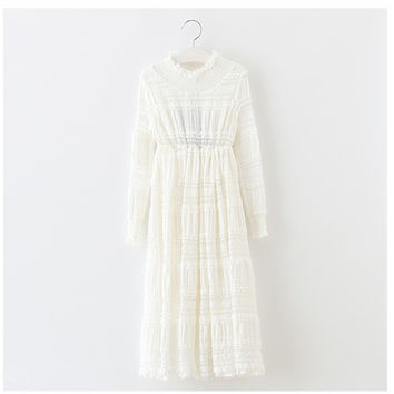 "The ""Mianna"" Girls & Tween Long Sleeve Lace Dress - White"