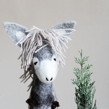 Norbert - Felt Donkey. Art Toy. Felted Toy. Stuffed.  Marionette Puppet.  Mothers Day Gift. Felt Animal. grey, gray .   READY TO SHIP