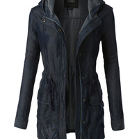 LE3NO Womens Long Sleeve Anorak Denim Jacket with Hoodie