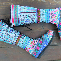 Ethnic Hmong Women's Boots Blue Embroidery With Flowers And Butterflies Boho Boots