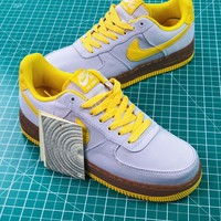 Nike Air Force 1 Canvas Af1 Low Grey Yellow Brown Sneakers Shoes - Sale