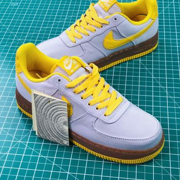 Nike Air Force 1 Canvas Af1 Low Grey Yellow Brown Sneakers Shoes 497d2db4dca1