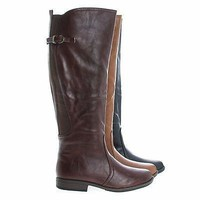 Montage93 Chestnut By Bamboo, Knee High Equestrian Riding Boots w Elastic Shaft