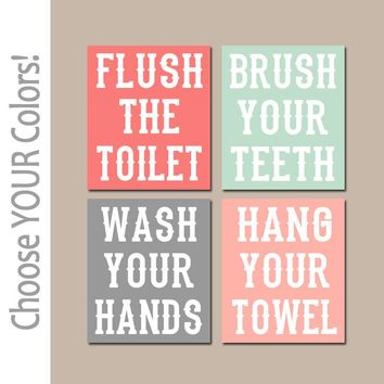 Kid BATHROOM Rules Wall Art, CANVAS or Prints Boy Girl BATHROOM Brother Sister Wash Hands Brush Teeth Flush Toilet Hang Towel Set of 4
