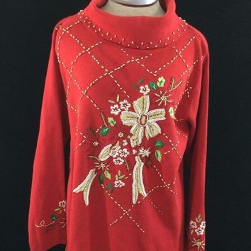 KIKIT ugly Christmas sweater size L red gold beads holly poinsettia turtleneck