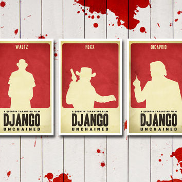 Django Unchained Minimalist Posters Trilogy - Inspired by the Quentin Tarantino Film - 11x17