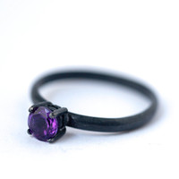 Africa Amethyst Ring - Oxidized Silver Rings , February Birthstone, dgc, SFEtsy, Love, For Her, 2014 Trends