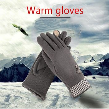 Ms. Autumn And Winter Warm Gloves Cute  Screen Savers Plus Thick Velvet Gloves 4 colos  A-17