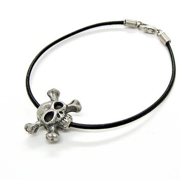 Leather Bracelet or Anklet Skull and Crossbones Bead Pirate Biker Pewter Jewelry