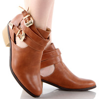Beauty-04 Almond Toe Buckles Ankle Boots