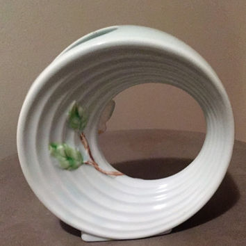 Vintage 1960s Japanes Banko Ware Butterfly Vase / Planter / Ring Shaped Vase / Ring Shaped Planter
