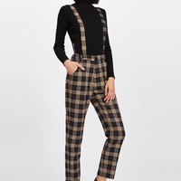 Cotton Plaid Tapered Pants With Straps