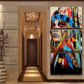 Beauty art Canvas Painting Native American Indian Girl Feathered Modern Home Wall Art Decor Print drop shipping and custom