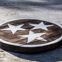 Tennessee TriStar hand painted reclaimed wood circle