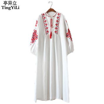 TingYiLi Floral Embroidered Ethnic Dress Cotton Linen Lantern Long Sleeve Maxi Dress Black Blue White Loose Long Dress Women