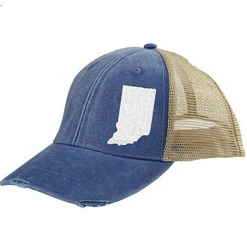 Indiana Trucker Hat - Distressed Snapback -off-center state