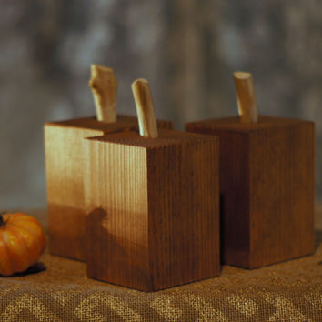 Stained Reclaimed Wood Pumpkins -Rustic Halloween Deco