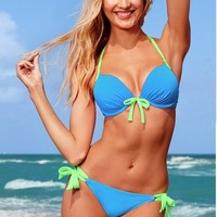 Women Sexy Push up Padded Swimsuit Swimwear Bathing Suit Bikini Set Light Blue L
