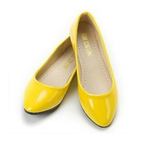 jeansian Women's Fashion Candy Patent Leather Pointed Flat Shoes WSB055