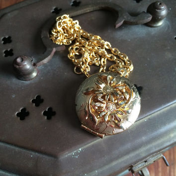 vintage gold colored floral locket, costume jewelry, necklace, pendant