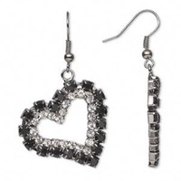 Gunmetal Black & Silver Czech Crystal Hearts Dangle Earrings