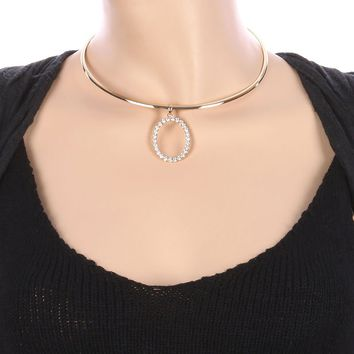 Clear Oval Ring Charm Metal Choker Necklace