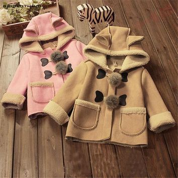 2017 Hot Sale Kids Winter Thickening Thermal Outerwear Children Hooded Jacket Velvet Coat Boys Girls High Quality Clothing