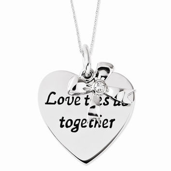 Sterling Silver Antiqued CZ Love Ties Us Together Heart & Bow Necklace