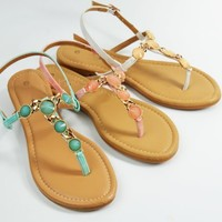 Womens Sandals Thong T Strap Faux Jeweled Flat Slingback Sandal Light Coral Teal
