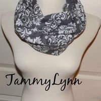 NEW!! Gray Grey Damask Cotton Flannel Infinity Scarf Lightweight Double Loop Scarf Women's Accessories