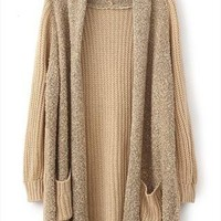 Loose Plush Knit Cardigan Sweater -Almond