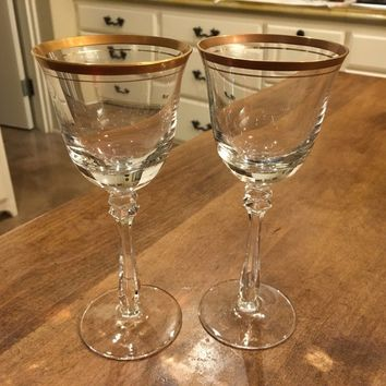 "Set of 2 - Mikasa Wheaton 7.25"" Crystal Wine Goblets Glasses Gold Rim Germany"