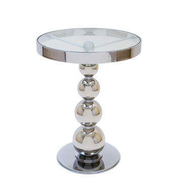 Allan Copley Designs San Juan Round Glass Top Side Table w/ Polished Chrome Base
