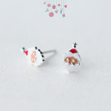Christmas gifts-925 sterling silver santa earrings + Nice gift box ALQ