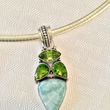 Larimar and peridot sterling silver pendant