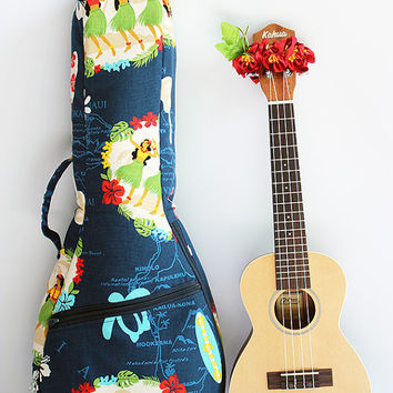 Concert ukulele case &ribbon lei / hula girl navy / ukulele gig bag / hawaiian fabric / tropical / surfboard / instrument case