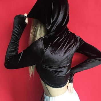 Hats Long Sleeve Sexy Crop Top Slim Hoodies [129127940121]