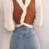 Pullover Knit Tops White Backless Sexy Sweater [11218590983]
