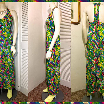 LYSERGIC BLISS Mod Dress / Vintage 60s Psychedelic Op Art Maxi Dress / Vibrant Rainbow Abstract Pattern / Fitted High Waist / Size Small XS