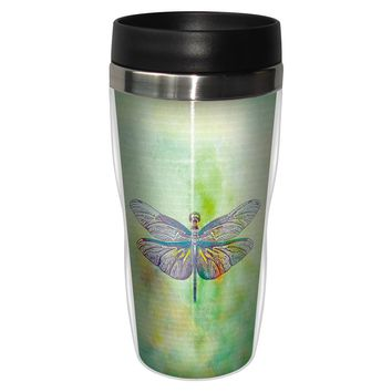 Vibrant Dragonfly Artful Travel Mug - Premium 16 oz Stainless Lined w/ No Spill Lid