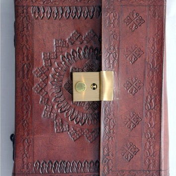 Genuine Blank Leather Diary notebook journal  travel book with lock and Key