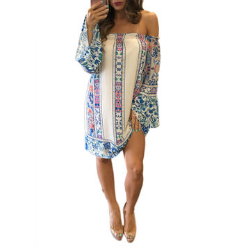 Fashion  Off Shoulder Long Sleeve Multicolor Totem Print Loose Chiffon Mini Dress