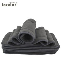 Baby Diaper Nappy Newborn Cloth Diapers Reusable Bamboo Charcoal Washable Diapers Inserts 5 Layers Baby Diapers Cover